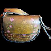 Horse Design 1970's Hand-Tooled & Painted Leather Shoulder Bag