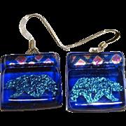 SALE Cool Dichroic Glass Polar Bear Earrings