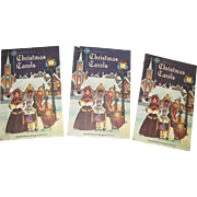 1953, Set of Three Christmas Carols Songsheets, Compiled by John Bach, Excellent for Their Age