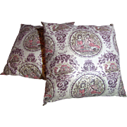 Charming Pair of 1970's Colonial Revival Chintz Pillows