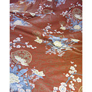 """86"""" Remnant of Glazed Cotton Japanese Cherry Blossom Design Fabric"""