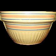 "Vintage 9 1/2"" Batter Mixing Bowl Blue/Pink Dbl.Band Stripe Yellow Ware Stoneware ..."