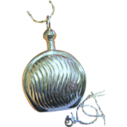 SALE Beautiful Ribbed Sterling Silver Perfume Bottle Pendant on Sparkly Chain