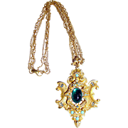 Huge Renaissance Revival Brooch Pendant Necklace by ART