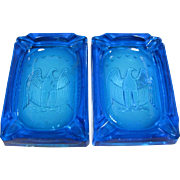 Vintage Pair of Turquoise Glass Bicentennial Eagle Ashtrays, Kanawha L.E. Smith