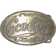 "Vintage 1970's ""Coca Cola at Fountains 5 Cents Soda"" Belt Buckle"