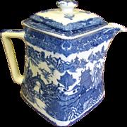Vintage Rington's Blue Willow Teapot, Unusual Offset Design