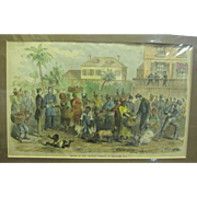 Hand Tinted Civil War Period Engraving of Scene in the Military Market at Beaufort S.C.