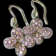 SALE Vintage Sterling Silver & Pink Rhinestone Butterfly Dangle Earrings