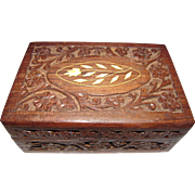 Hand Carved Indian Wooden Jewelry Box with Bone Inlay