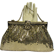 Vintage Whiting & Davis Co. Evening Purse Clutch, Silver Mesh & Rhinestone Clasp in Original .