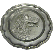 Vintage French Pewter Hunting Dog Wall Plate