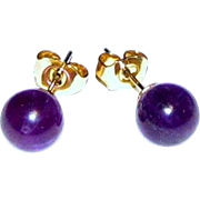 Pretty 8mm Gemstone Amethyst Stud Earrings on Stainless Posts