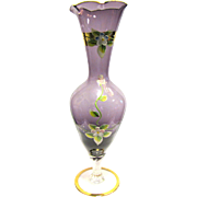 Amethyst Blown Glass Vase w/ Twisted Stem, Ruffle Top, Gilt & Impasto Decoration