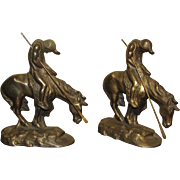 """Bronze Patinated Cast Iron Bookends """"End of Trail"""" Native American Indian on Horseba"""