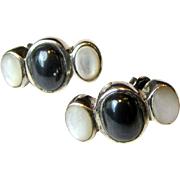 SALE Pretty Mother of Pearl & Hematite Steling Stud Earrings