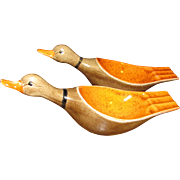 Vintage Pair of Handcrafted Duck Ashtrays, Cool!