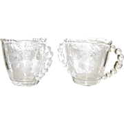 Cherokee Rose Creamer & Sugar Bowl by Tiffin-Franciscan, Etched, Elegant, Beaded, 1941 - 1966