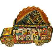 Leather Bus holding 6 Coasters, Handpainted, Ecuador