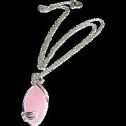 Sterling, Rose Quartz & Crystal Pendant Necklace on Filigree Chain