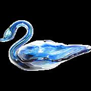 Elegant Miniature Art Glass Swan Trinket Tray