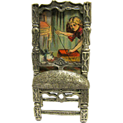 Miniature Antique Picture in Vintage Easel Frame