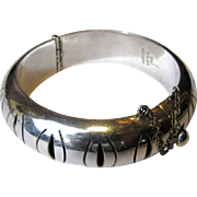 SALE Heavy Taxco Sterling Pierced Hinged Bangle Bracelet, 48 Grams