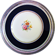 SALE Beautiful Crown Ducal Floral Large Plate with Reticulated Sterling Mounted Border