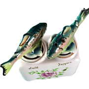 SOLD Nodding Figural Trout Fish Salt and Pepper Shaker set