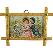 Wonderful Antique Ormolu Picture Frames with Original Print behind Glass - One of a Pair