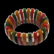 Red Yellow & Green Bakelite Bracelet