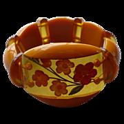 Reverse Carved Floral Bakelite Stretch Bracelet