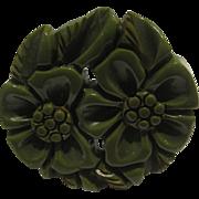 Green Bakelite Floral Circle Pin
