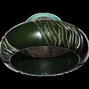 Dark Green Bakelite Carved Rope Bracelet