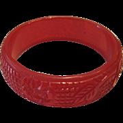 Cherry Red Etch Carved Bangle Bracelet