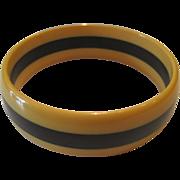Thin Cream & Black Laminated Bakelite Bracelet