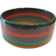 Bakelite Multi Colored Laminated Bangle Bracelet