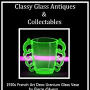 REDUCED Rare 1930s French Art Deco Uranium Glass Vase by Pierre d'Avesn for Daum Freres