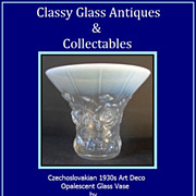 SOLD Signed Opalescent Glass Vase by Barolac Czechoslovakia Art Deco circa 1930s