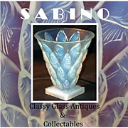 SOLD Sabino Paris 1930s  French Art Deco Vintage Original Opalescent Crystal Glass Vase Poisso