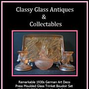 REDUCED German Art Deco Peach Glass Sonnenfisch pattern Trinket Vanity Set by Walther & ..