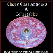 SOLD Beautiful French 1930s Art Deco Opalescent Glass Comport with Chrome Metal Stand.  Fully