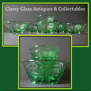 REDUCED Very Scarce Bohemian Art Deco 7 Piece Emerald Green Glass Sundae Set by S Reich & Co.