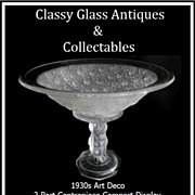 REDUCED 1930s Art Deco Four Cherubs pattern 2 Part Center Piece Comport Display – MINT & PRI