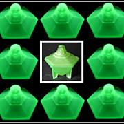 SOLD 1920s Art Deco Uranium Glass Sphinx Powder Box by Taussant Glass Company USA