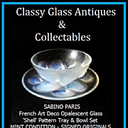 REDUCED Superb French Opalescent Glass 'Shell' Pattern Bowl & Tray Set by Sabino, Paris. .