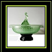 SOLD Particularly Scarce 1930s Art Deco Uranium Green Glass Centerpiece Display.