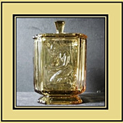 REDUCED 'Pandora's Box ' 1930s English Art Deco Large Amber Glass  Lidded Jar by Sowerby