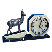 REDUCED Fabulous 1930s French Art Deco Marble & Onyx Clock with Alpine Ibex Sculpture. Ful