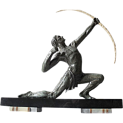 SOLD Terrific Original 1920s French Art Deco Male Archer Sculpture by E.J.N. Carlier